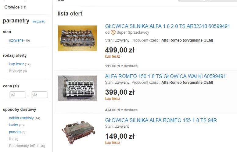 покупка ГБЦ на allegro.pl