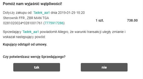 продавец с allegro.pl не высылает товар за границу - отмена покупки